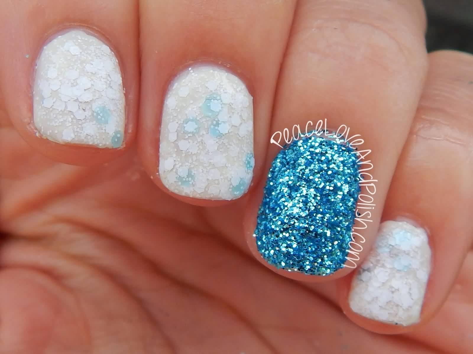 Divine White Glitter Accent Nail Art