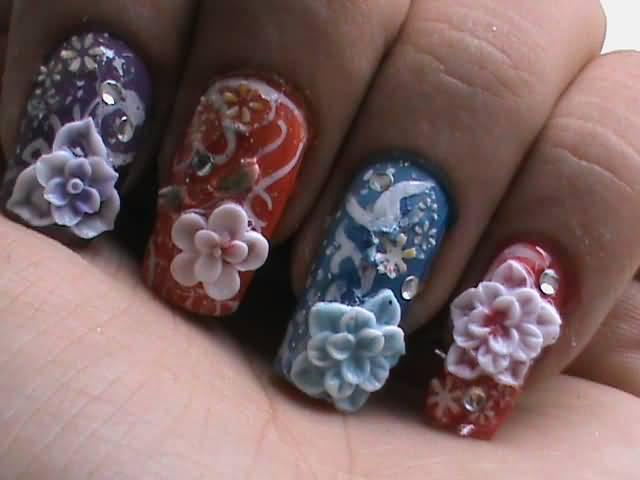 Elegant 3D Flower In Different Colors 3D Nail Art