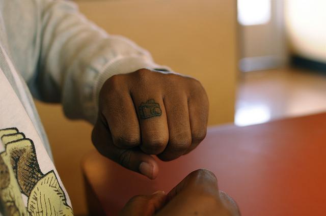 Elegant Camera Tattoo On Finger For Girls