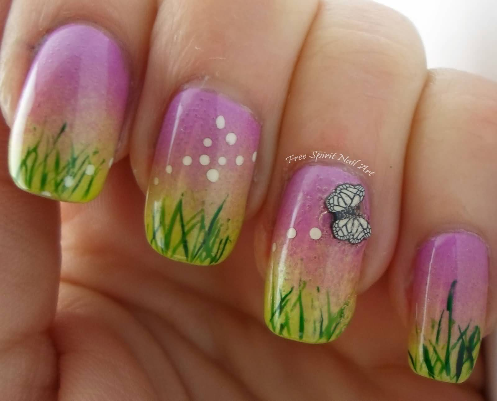 Elegant Green Grass With White Color Butterfly 3D Butterflies Nail Art