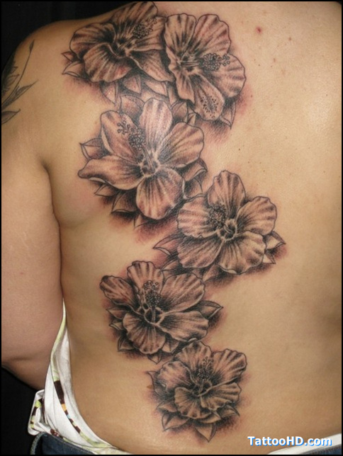 Elegant Hibiscus Tattoo On Side Back For Girls