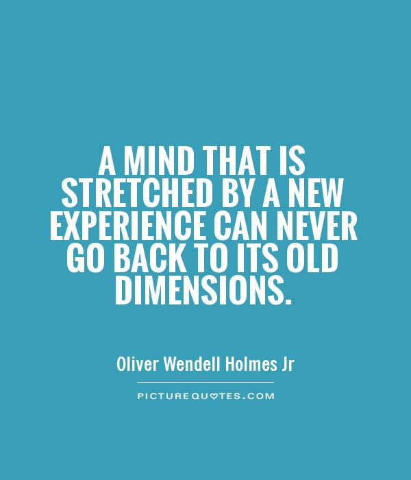 Experience Quotes a mind that is stretched by a new experience can never go back to its old dimensions
