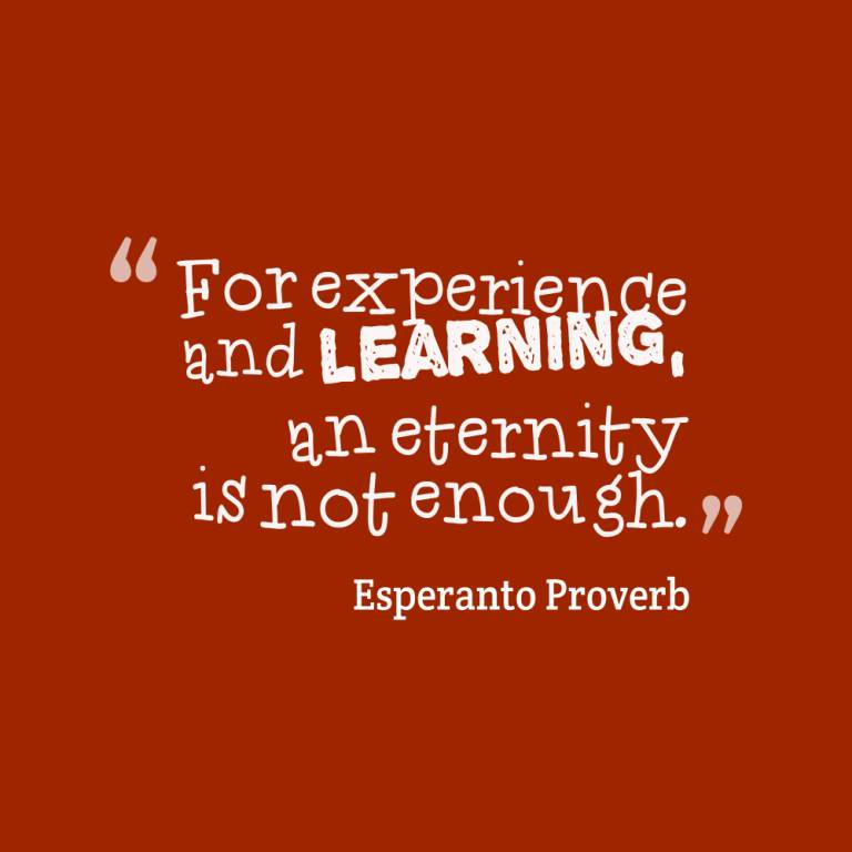 Experience Quotes for experience and learning an eternity is not enough