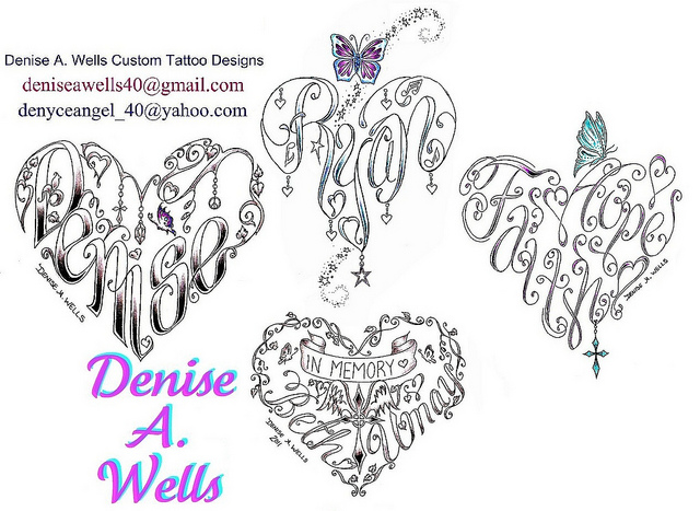 Extremely Denise Wells Heart Tattoo Designs For Boys And Girls
