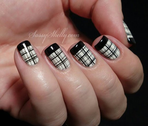 Eye Catching Black French Tip Nails With Designer White Nail