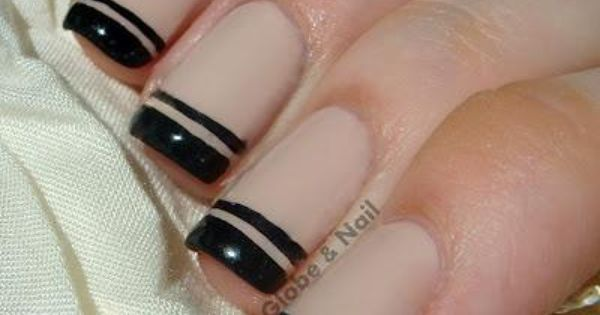 Eye Catching Black French Tip Nails With One Black Line Nail Design