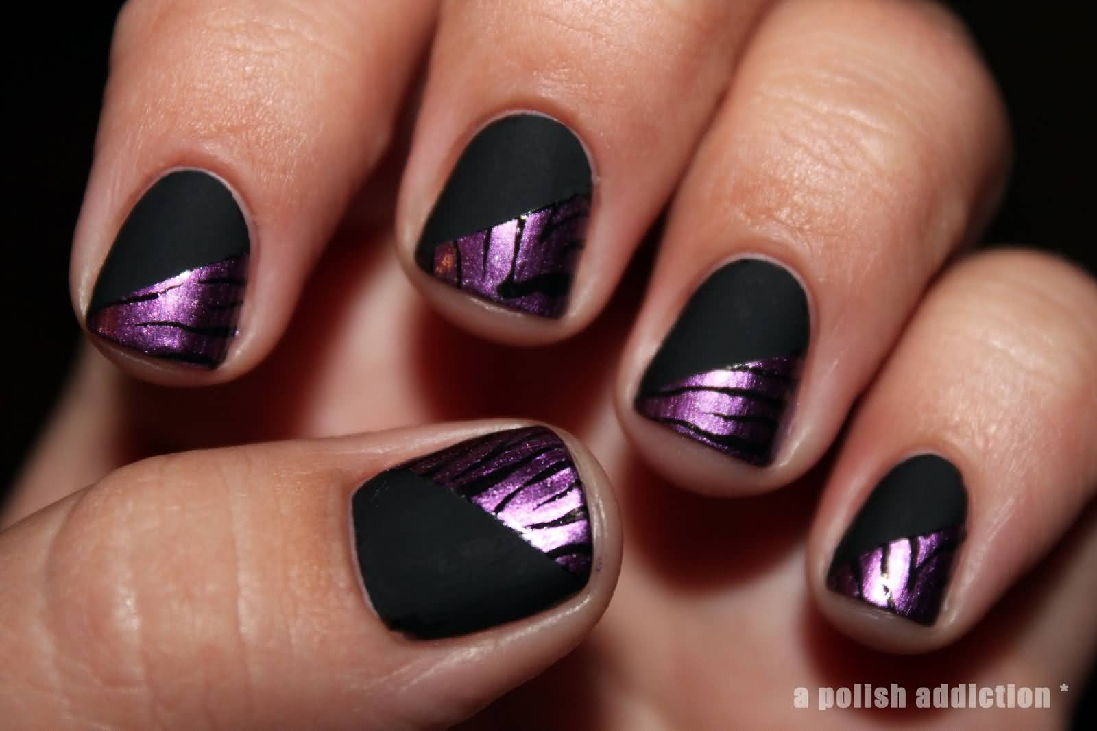 Eye Catching Black Matte Nails With Purple Tiger Print
