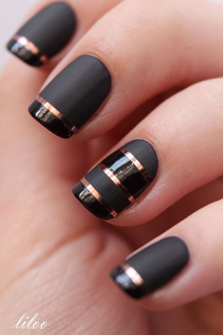 Eye Catching Black Nail Art With Golden Lining Design