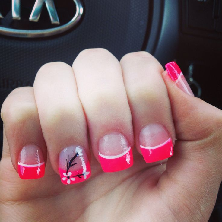 Eye Catching Pink Tips 3D Acrylic Nail Art