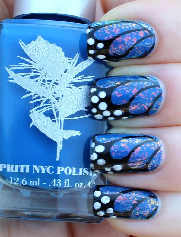 Eye Catching Butterfly Nail With Sparkling Nail Paint