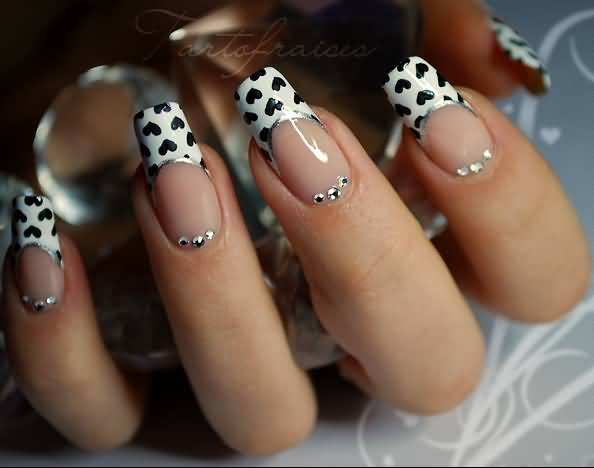 Fabulous Black And White Nails With Hearts On Tips