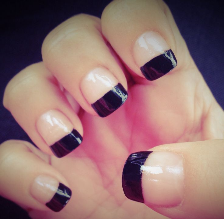 Fabulous Black French Tip Nails With Nude Nails