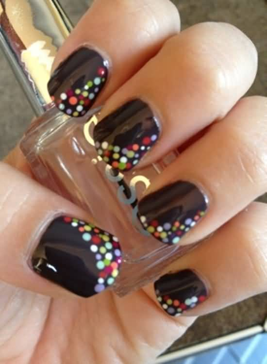 Fabulous Black Nail Art With Colorful Dot