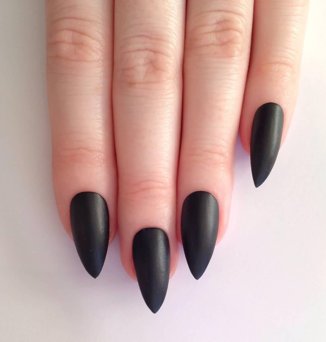 Fabulous Black Nail Art With Sharp Nail Design