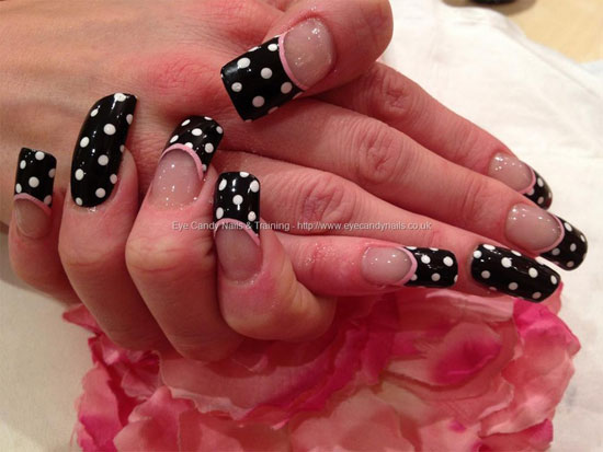 Fabulous Black and Dotted Tips Black Acrylic Nail Art