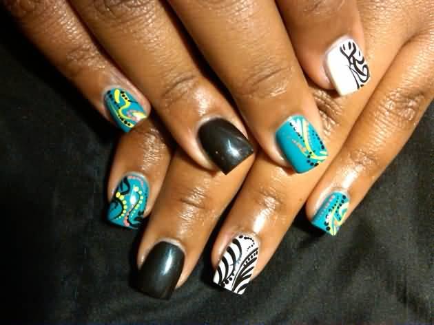 Fabulous Blue With Black Nail Paint Acrylic Short Nail Design