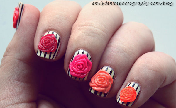 Fabulous Colorful Rose 3D Acrylic Nail Art
