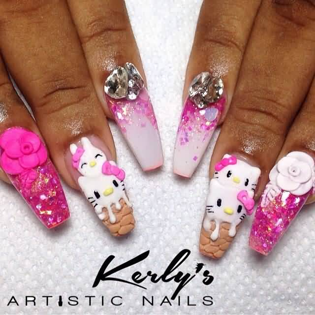 Fabulous Ice Cream Con And A Kitty 3D Nail Art