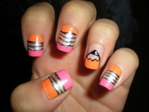 Fabulous Pencil Design Accent Nail Design