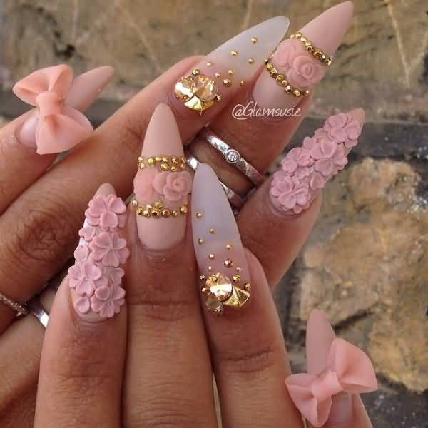 Fabulous Pink And White Tip With Ribbon 3D Nail Art