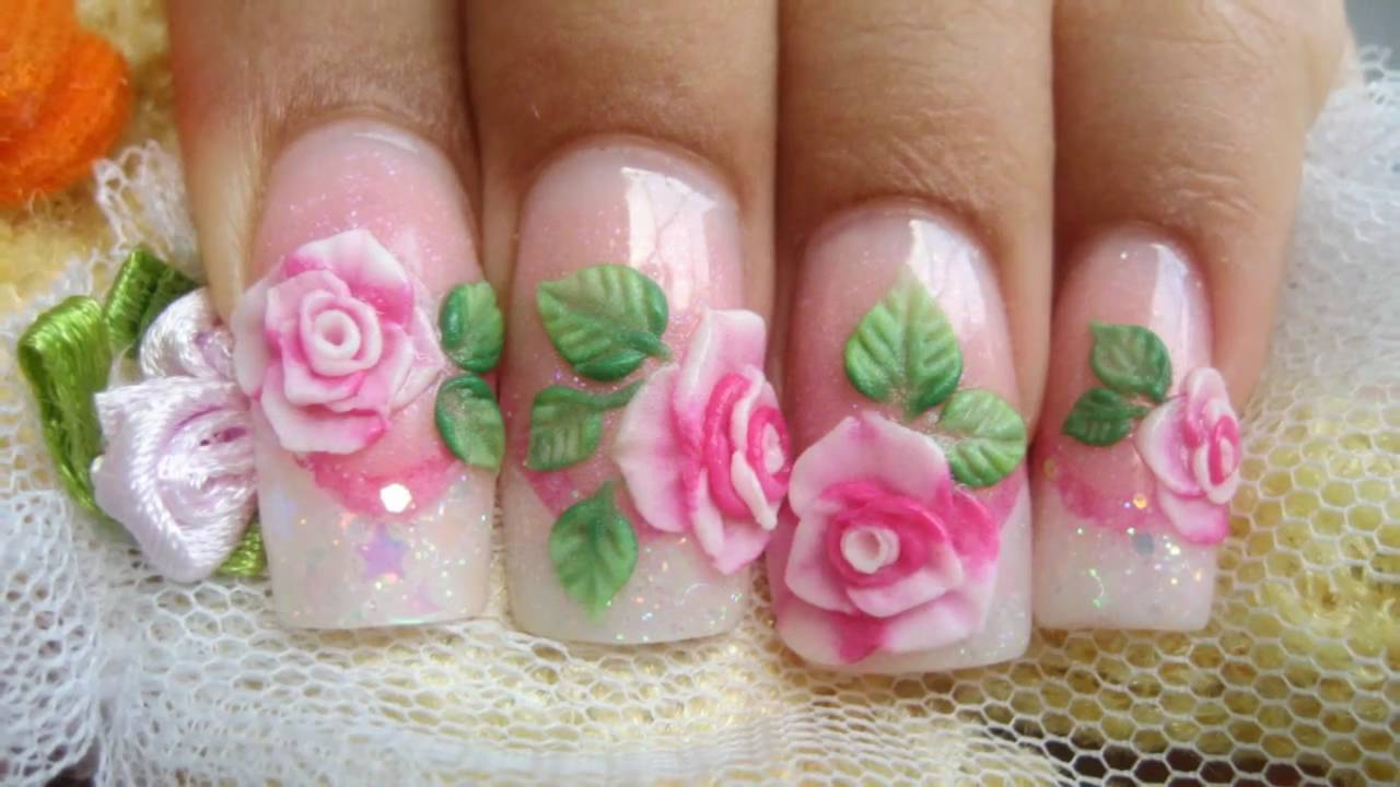 Fabulous Pink Color Rose With Leaves 3D Acrylic Nail Art