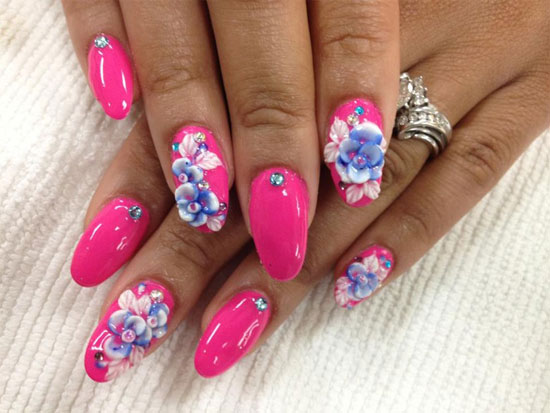 Fabulous Pink Color With Blue Flower 3D Rose Flower Nail Art