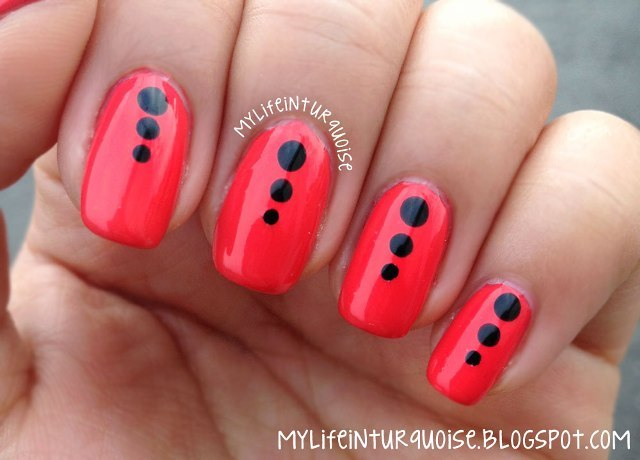 Fabulous Red And Black Nails With Black Dot