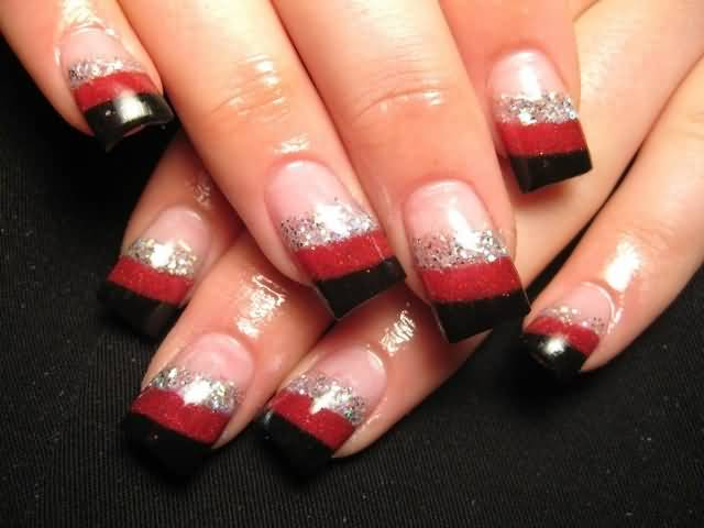 Fabulous Red And Black Nails With Silver Lining
