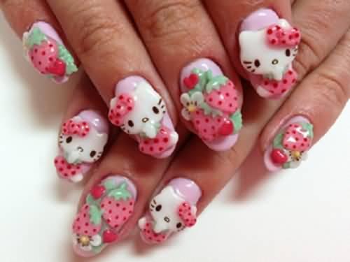 Fabulous Strawberries And Cute Kitty 3D Nail Art