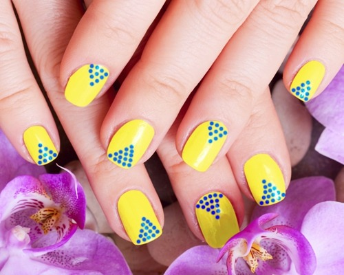 Fabulous V Shaped Design Yellow And Blue Nails