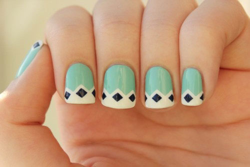 Fabulous White Tip With Black and Blue Combination Acrylic Short Nail Design