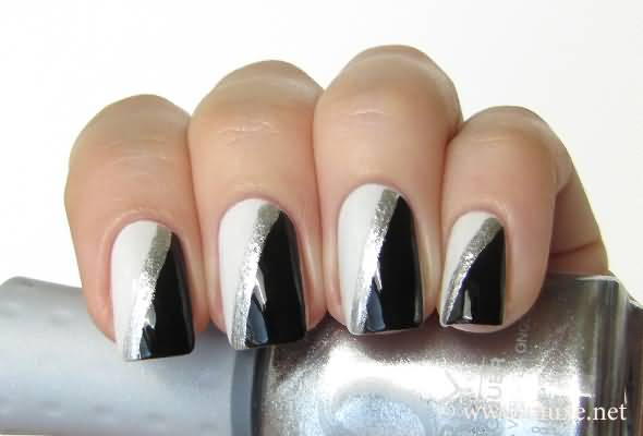 Famous Black And White Nail Art With Half Parts