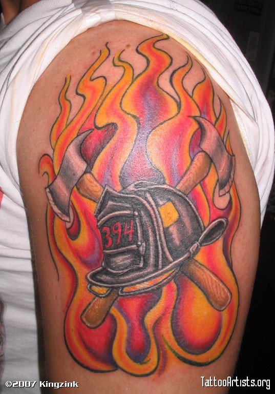 Famous Flames And Firefighter Helmet Tattoo On Biceps For Boys