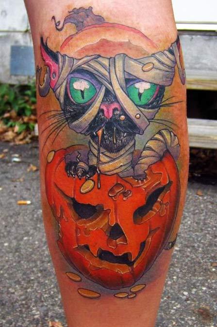Famous Halloween Black Cat Tattoo Design On Leg For Boys