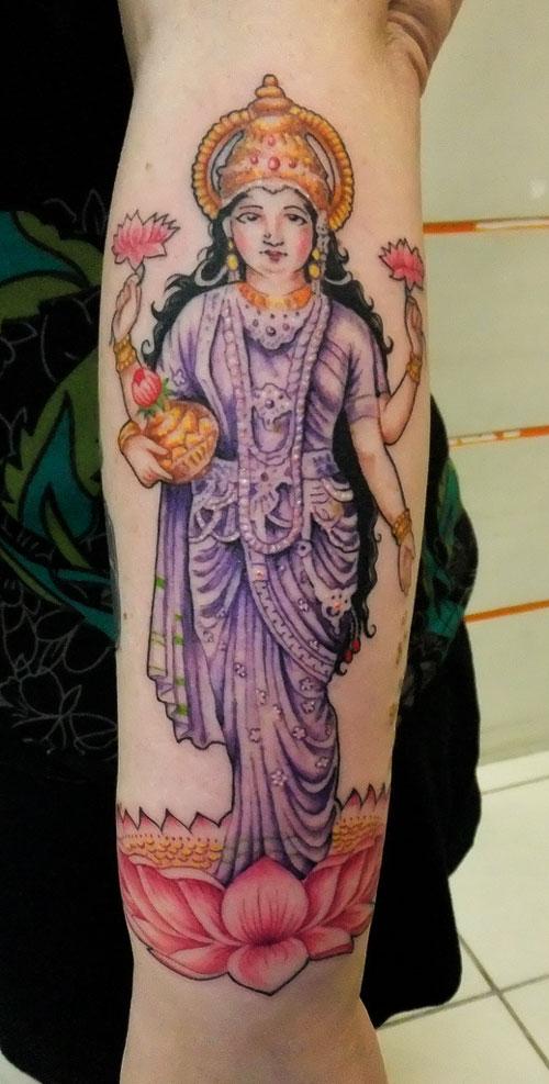 Famous Hindu Goddess Laxmi Tattoo On Arm For Girls