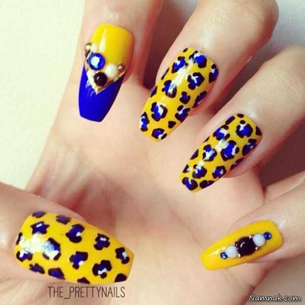 Famous Leopard Design With Yellow And Blue Nails