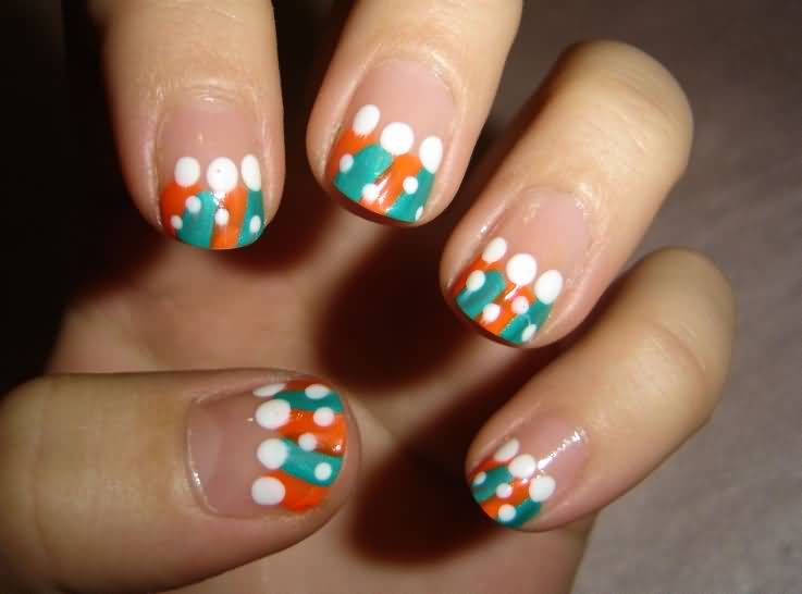 Fantastic Colorful tip With White Dotes Acrylic Short Nail Design
