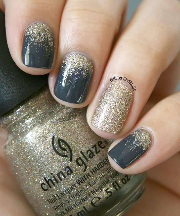 Fantastic Dark grey And Golden Nail Paint