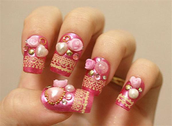 Fantastic Heart And Flower 3D Rose Flower Nail Art