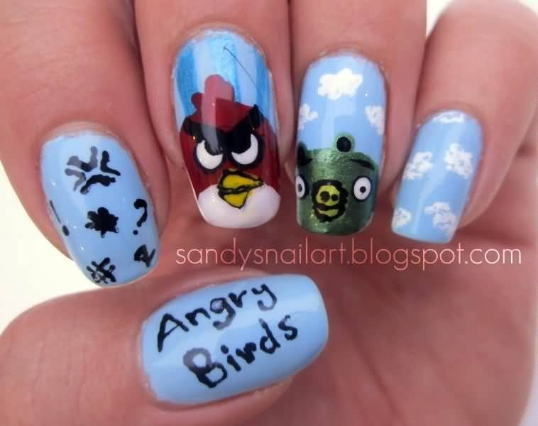 Fantastic Pig With Red Bird Angry Bird Nail Art Design
