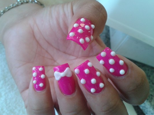 Fantastic Pink Color With White Dotted Nail Paint 3D Nail Art