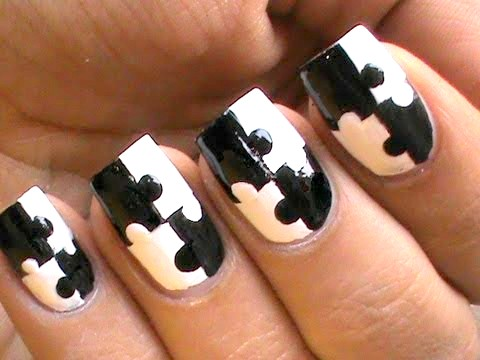 Fantastic Puzzle Design In Black And White Nail Art
