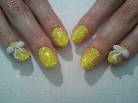 Fantastic Shining yellow Color And White Ribbon 3D Nail Art