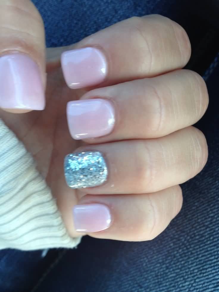 Fantastic Silver Color Baby Pink Glitter Accent Nail Art