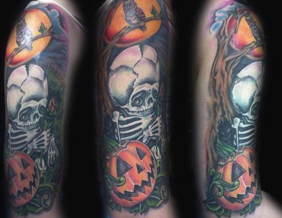 Fantastic Skeleton n Halloween Tattoo On Arm For Girls