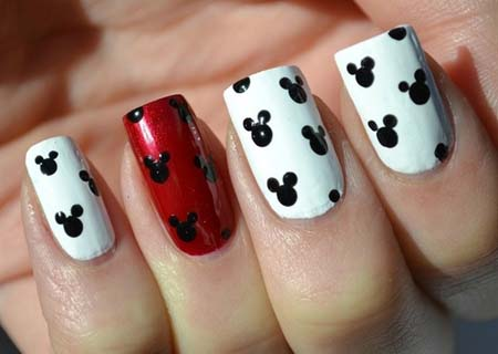 Fantastic White And Black Nail Art With Rabbit Face Design