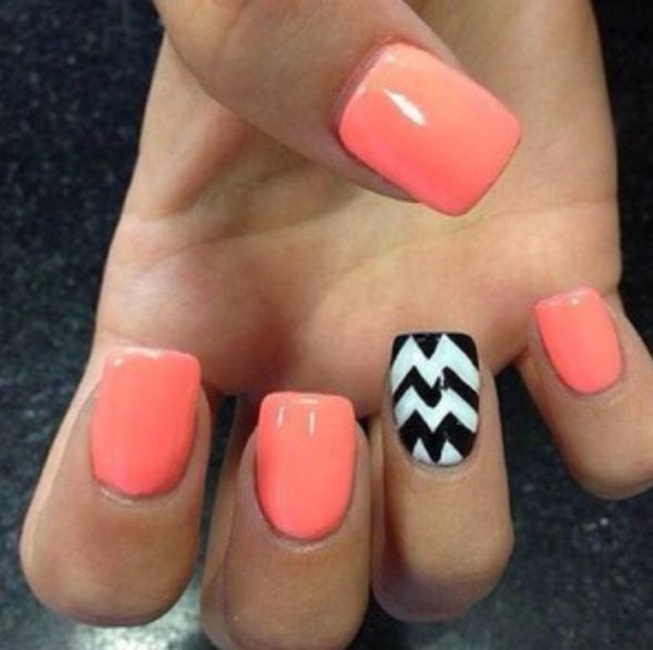 Fantastic pink And Black And White Stripes Accent Nail Design