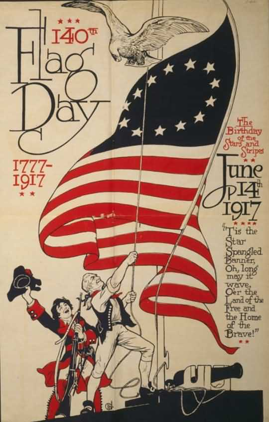 Flag Day Old Greetings Card Image