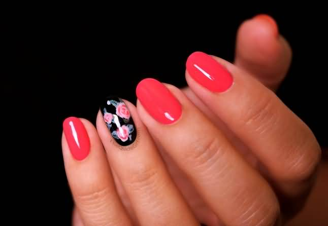Flower With Red Ink Accent Nail Design