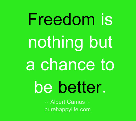 Freedom sayings freedom is nothing but a chance to be better